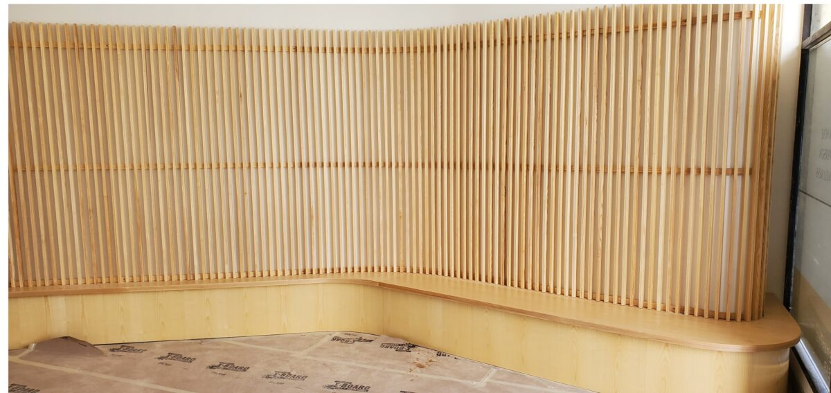 Ash Curved Benches and Ash Wall Slats for Seyhart