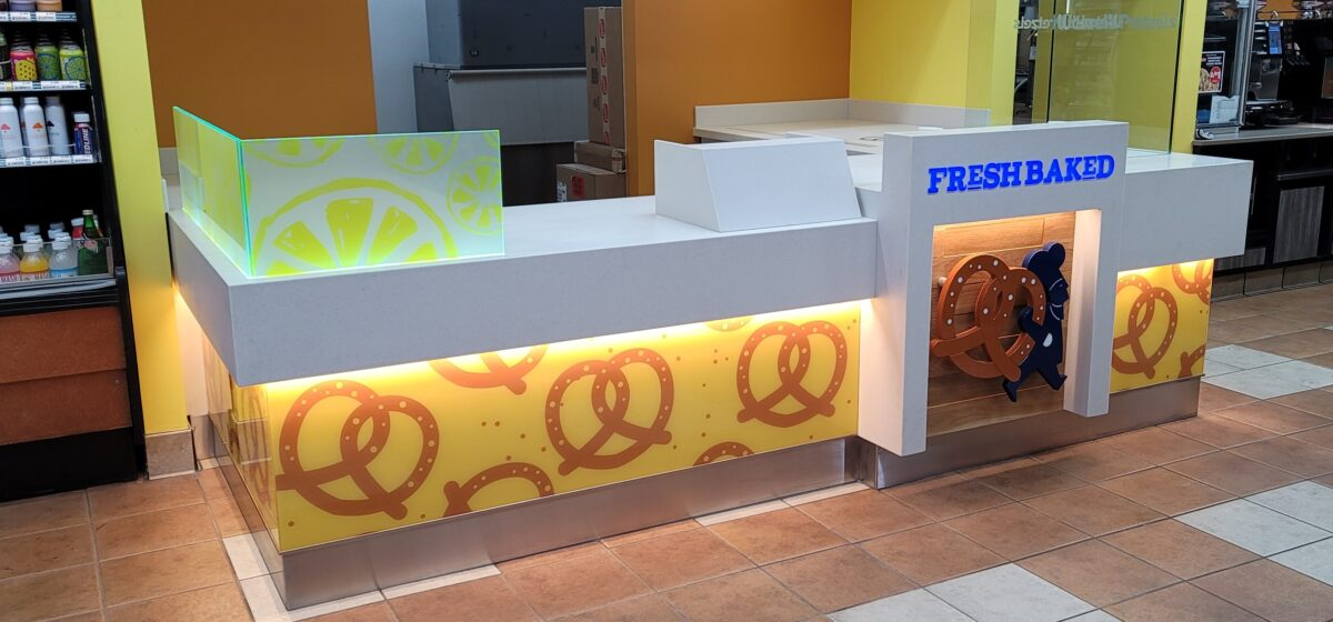 Wetzel's Pretzels food  counter at 76 in City of Industry